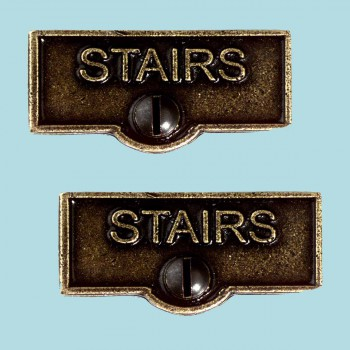 <PRE>2 Switch Plate Tags STAIRS Name Signs Labels Cast Brass </PRE>zoom2
