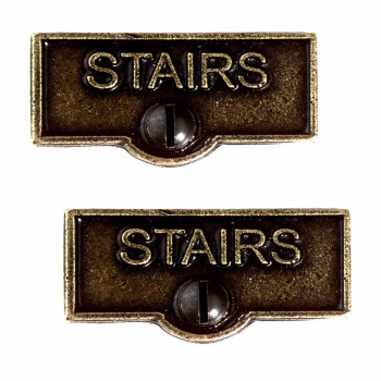 <PRE>2 Switch Plate Tags STAIRS Name Signs Labels Cast Brass </PRE>zoom1