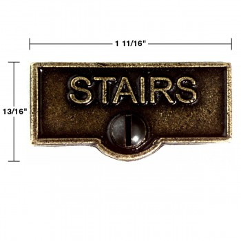 spec-<PRE>2 Switch Plate Tags STAIRS Name Signs Labels Cast Brass </PRE>