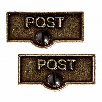 2 Switch Plate Tags POST Name Signs Labels Cast Brass Switch Plate Labels Switch Plate ID Labels Switch Plate Label