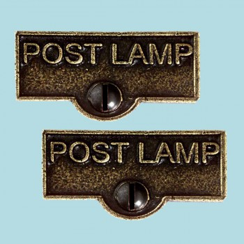<PRE>2 Switch Plate Tags POST LAMP Name Signs Labels Cast Brass </PRE>zoom2