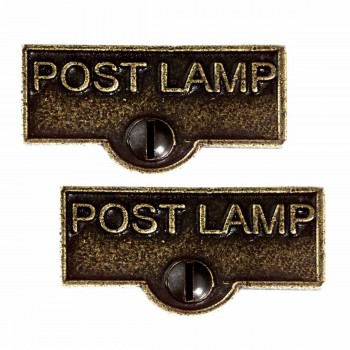 <PRE>2 Switch Plate Tags POST LAMP Name Signs Labels Cast Brass </PRE>zoom1