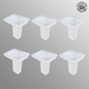 <PRE>6 Children's White Pedestal Sinks Vitreous China Set of 6 </PRE>