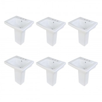 6 Children's White Pedestal Sinks Vitreous China Set of 6