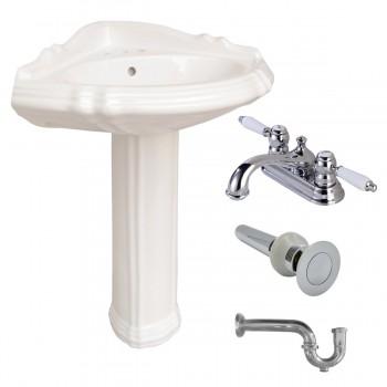 Bone Vitreous China Sheffield Corner Pedestal Sink with 4