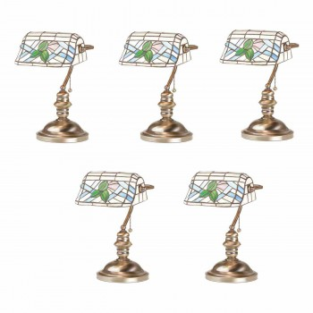 <PRE>5 Banker's Lamps Stained Glass Antique Brass Set of 5 </PRE>