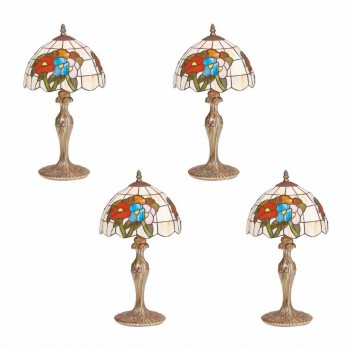 4 Table Lamp Antique Brass  Style Stained Glass 19H Lamp Table Lights Lamps