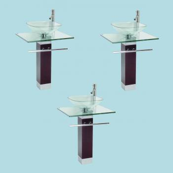 <PRE>Tempered Glass Pedestal Sink Chrome Faucet Towel Bar and Drain Combo Set of 3</PRE>zoom2
