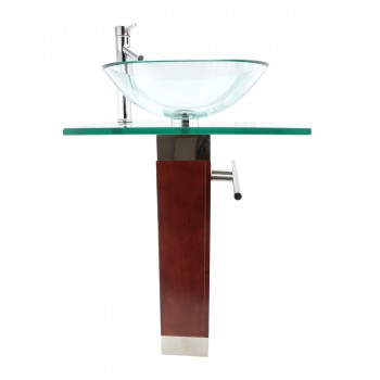 <PRE>Tempered Glass Pedestal Sink Chrome Faucet Towel Bar and Drain Combo Set of 3</PRE>zoom6