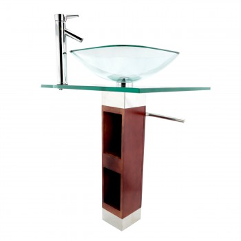 <PRE>Tempered Glass Pedestal Sink Chrome Faucet Towel Bar and Drain Combo Set of 3</PRE>zoom4