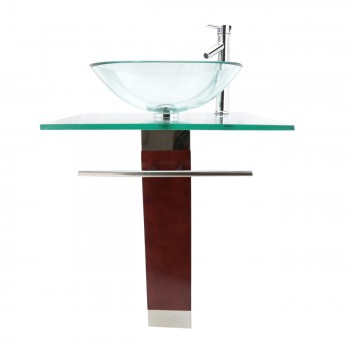 <PRE>Tempered Glass Pedestal Sink Chrome Faucet Towel Bar and Drain Combo Set of 3</PRE>zoom3