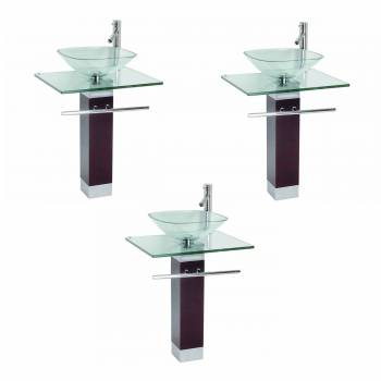 Tempered Glass Pedestal Sink Chrome with Faucet Set of 3