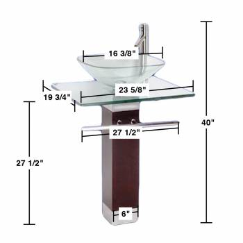 spec-<PRE>Tempered Glass Pedestal Sink Chrome Faucet Towel Bar and Drain Combo Set of 3</PRE>