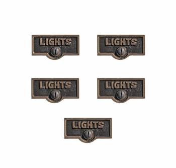 Switch Plate Tags LIGHTS Name Signs Labels Antique Brass Pack of 5