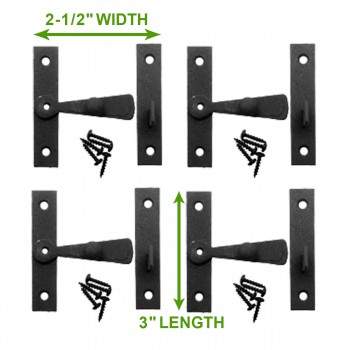 spec-<PRE>Cabinet Catch Black Wrought Iron .375in Offset 2.5in W Set of 4 </PRE>