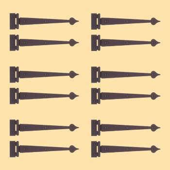<PRE>Spear Flush Door Hinge Iron 7 3/8&quot; H Set of 6 Pairs </PRE>
