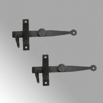 Cast Iron Gate Bar Latch Catch for Gates Cabinets Interior Doors Barn Shed Colonial Vintage Rustic Design Black Powder Coated Reversible Design Hardware Screws Included Set of 2