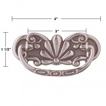 spec-<PRE>6 Cabinet Pull Pewter Solid Brass Scalloped Bail </PRE>