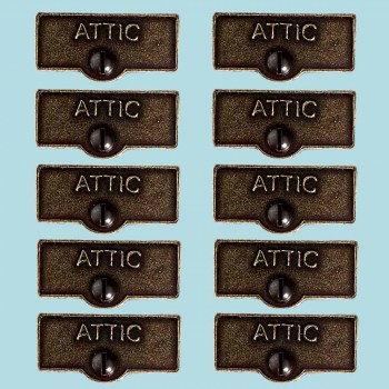 10 Switch Plate Tags ATTIC Name Signs Labels Cast Brass Switch Plate Labels Switch Plate ID Labels Switch Plate Label