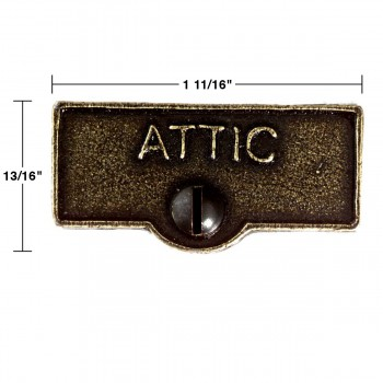 spec-<PRE>10 Switch Plate Tags ATTIC Name Signs Labels Cast Brass </PRE>