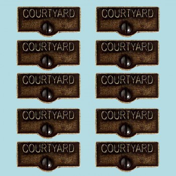 <PRE>10 Switch Plate Tags COURTYARD Name Signs Labels Cast Brass </PRE>zoom2