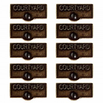 <PRE>10 Switch Plate Tags COURTYARD Name Signs Labels Cast Brass </PRE>zoom1