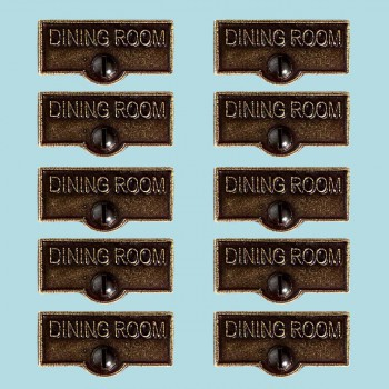 <PRE>10 Switch Plate Tags DINING ROOM Name Signs Labels Cast Brass </PRE>zoom2