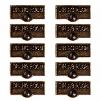 <PRE>10 Switch Plate Tags DINING ROOM Name Signs Labels Cast Brass </PRE>zoom1