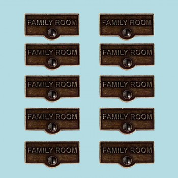 <PRE>10 Switch Plate Tags FAMILY ROOM Name Signs Labels Cast Brass </PRE>zoom2