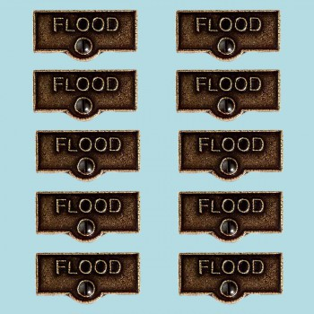 <PRE>10 Switch Plate Tags FLOOD Name Signs Labels Cast Brass </PRE>zoom2
