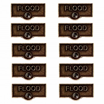 <PRE>10 Switch Plate Tags FLOOD Name Signs Labels Cast Brass </PRE>zoom1
