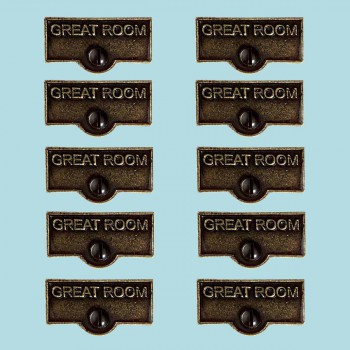 <PRE>10 Switch Plate Tags GREAT ROOM Name Signs Labels Cast Brass </PRE>zoom2