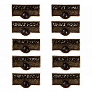 <PRE>10 Switch Plate Tags GREAT ROOM Name Signs Labels Cast Brass </PRE>zoom1