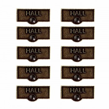 10 Switch Plate Tags HALL Name Signs Labels Cast Brass Switch Plate Labels Switch Plate ID Labels Switch Plate Label