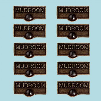 <PRE>10 Switch Plate Tags MUDROOM Name Signs Labels Cast Brass </PRE>zoom2