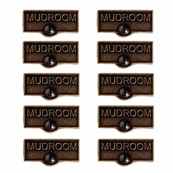 <PRE>10 Switch Plate Tags MUDROOM Name Signs Labels Cast Brass </PRE>zoom1