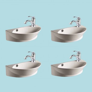 <PRE>White Porcelain Wall Mount Sink with Single Faucet Hole Set Of 4 </PRE>