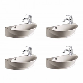 <PRE>White Porcelain Wall Mount Sink with Single Faucet Hole Set Of 4 </PRE>zoom1