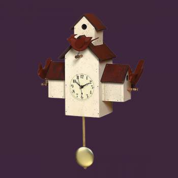<PRE>Clocks White Wood Birdhouse Pendulum Clock 14.5&quot;H </PRE>