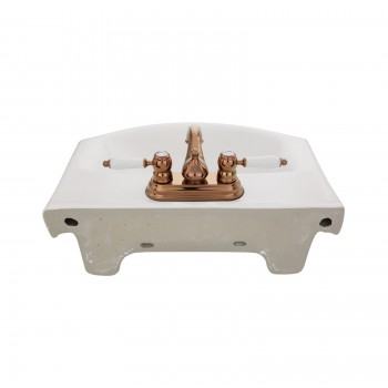 Tahoe Wall Mounted Bathroom Sink in White Combo with Centerset Rose Gold Faucet and Drain