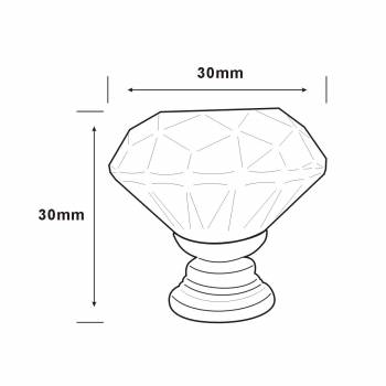 spec-<PRE>Clear Glass Cabinet Knobs 1.8 Inch Projection Mushroom Pack of 30 pcs</PRE>