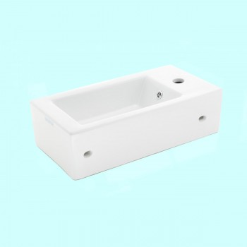 <PRE>Small Wall Mount Bathroom Sink Rectangle Shape with Overflow </PRE>zoom2