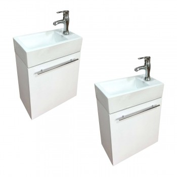 <PRE>Bathroom Sink White Vanity with Towel Bar, Faucet and Drain Wall Mount Set of 2</PRE>