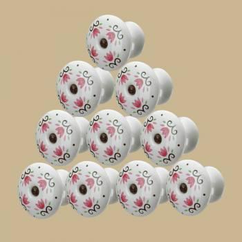 <PRE>10 Cabinet Knobs Porcelain Tulip 1 3/4 Dia W/ Screw </PRE>zoom2
