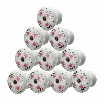 10 Cabinet Knobs Porcelain Tulip 1 34 Dia W Screw