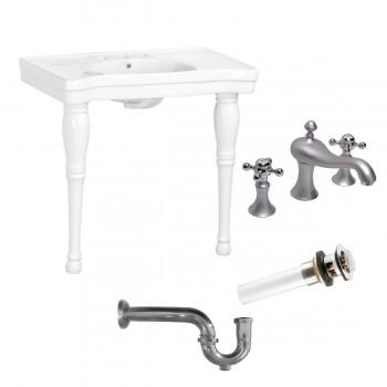 Console Sink White Porcelain with Hardwood Leg, Faucet, Drain & P Trap42093grid
