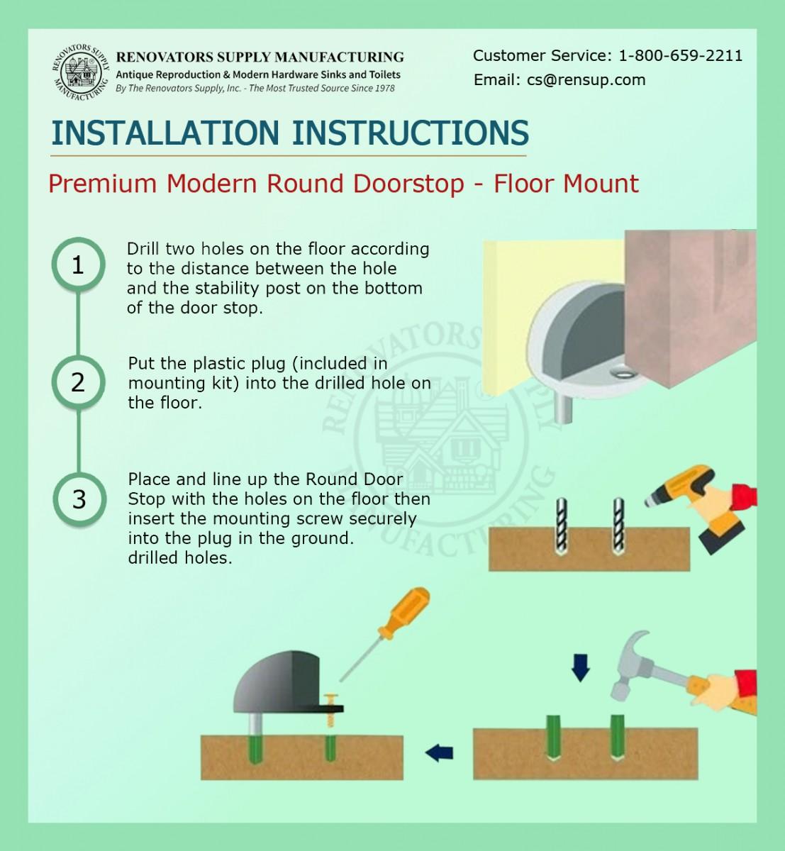 Matte Black Floor Door Stopper Floor Mount Floormount Doorstop Half Dome Domed Door Stopper, Door Bumper Low Profile Short Stop
