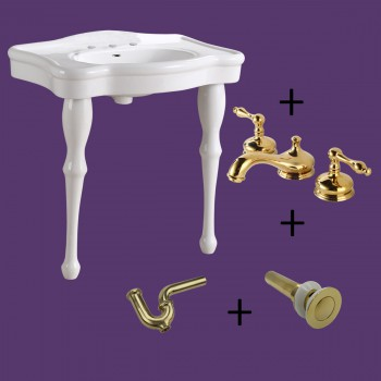 White Console Sink Porcelain Two Spindle Legs with 8 Faucet and PTrap Bathroom Console Sink Console Sink With Legs Console Sink For Small Bathrooms