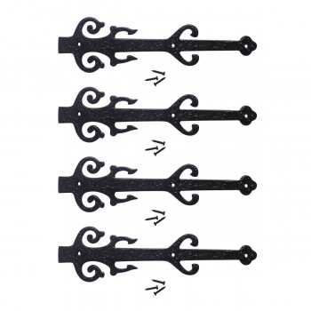 12 Wrought Iron Dummy Hinge Poseidon Design Pack of 4 Black Decorative Dummy Hinge Fleur De Lis Dummy Hinge Black Iron Decorative Dummy Hinge