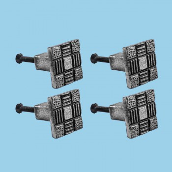 <PRE>Cabinet Knob Drawer Pull Square Aztec Pewter Finish Iron Pack Of 4</PRE>zoom2